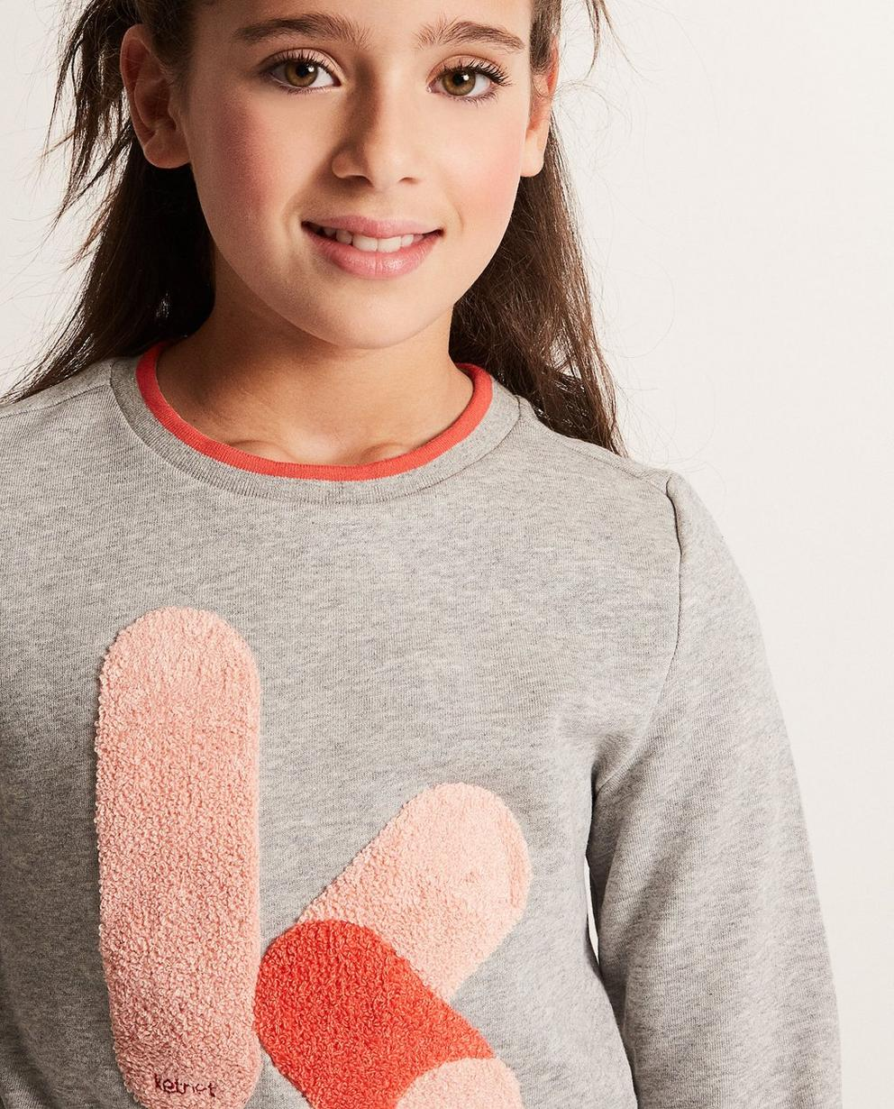 Sweater - Blassgrau - Sweater mit Bouclé-Print